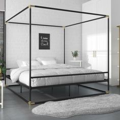 Shop a great selection of CosmoLiving Cosmopolitan CosmoLiving Celeste Canopy Metal, Full Size Frame, Black/Gold Bed. Find new offer and Similar products for CosmoLiving Cosmopolitan CosmoLiving Celeste Canopy Metal, Full Size Frame, Black/Gold Bed. Black Canopy Beds, Metal Canopy Bed, Canopy Bed Frame, Canopy Bedroom, Metal Beds, Modern Canopy Bed, Master Bedroom, King Size Canopy Bed, Bedroom Decor