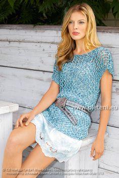 dámská letní ručně pletená tunika z příze Veneta Color 4df9b7221b