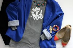 Monogram on grey shirt. Dress up or dress it down. Monogram outfit.