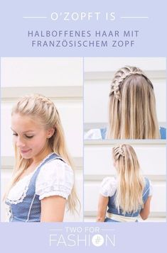 Cool braids for the Oktoberfest! - Oktoberfest ♥ Two for Fashion Open Hairstyles, Cool Braid Hairstyles, Wedding Hairstyles, Hairstyle Braid, Bridal Hair Updo Elegant, Bridal Updo, Cool Braids, Good Hair Day, Hair Hacks