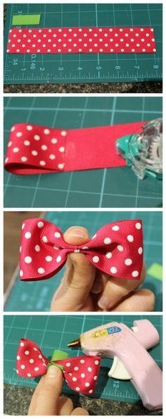 Simple and easy bow. Perfect for sewing on a project Learn how to make your own bow back shirt using wholesale ribbon from May Arts Ribbon! Making Hair Bows, Diy Hair Bows, Diy Bow, Diy Ribbon, Ribbon Crafts, Ribbon Flower, Fabric Flowers, Bow From Ribbon, Making Ribbon Bows