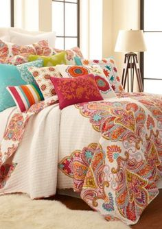 Give your bedroom a lively update with the Levtex Home Tivoli Bone Reversible Quilt Set. Decked out with vibrant colors, and playful designs on both sides this quilt will add a sophisticated flair to your room. King Quilt Sets, Queen Quilt, Linen Bedding, Bedding Sets, Bed Linens, Girl Bedding, Chic Bedding, Twin Quilt, Bed Sets