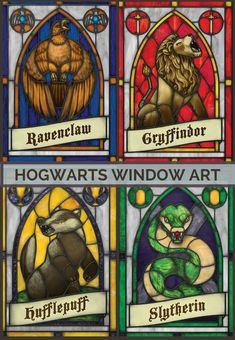Decorative window film decal | Harry Potter Hogwarts houses | Ravenclaw, Gryffindor, Hufflepuff, Slytherin | stained glass effect | colored glass home decor | privacy window film | DIY stained glass sticker | #affiliate #harrypotter