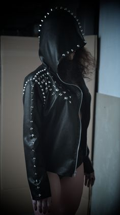 Faux Leather Studded 'Cloak' Jacket