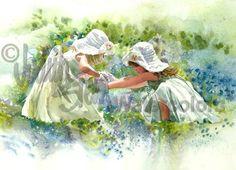 Bluebonnet Belles es un Open Edition Giclee arte de una acuarela con dos niñas jugando en un campo de Texas Bluebonnets. Anni Ayúdame, dice a su