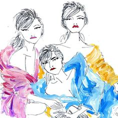 #vogueuk April 2015 #sukiwaterhouse #georgiamayjagger #caradelevingne #fashionillustration #sketchoftheday #vogue