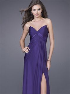 Column Strapless V-neckline with a sexy leg Slit Floor Length Chiffon Prom Dress PD10892