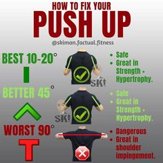 HOW TO FIX YOUR PUSH UP! So there's a few variations of push ups but the one to stay clear of mostly is the T shaped version. This version can cause injury or impingement of the shoulder time and time again, and it also does not focus on the muscle groups