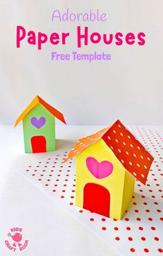 This adorable PAPER HOUSE CRAFT is super cute as a Valentine's Day craft, fairy house craft or simply for fun at any time of the year! These paper houses are really easy to make with the free printable template. Paper Crafts For Kids, Easy Crafts For Kids, Diy For Kids, Fun Crafts, Craft Activities, Preschool Crafts, Preschool Printables, Printable Crafts, Free Printable