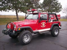 Ambulance, Brush Truck, Red Jeep, 4x4, Cool Fire, Fire Equipment, Rescue Vehicles, Automobile, Trucks