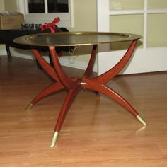 Delightful Mid Century Modern Hand Tooled Brass Tray With Folding Spider Legs Coffee  Table Gallery
