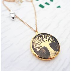 Bonbi Forest From Small Seeds Gold Locket Necklace ($23) ❤ liked on Polyvore featuring jewelry, necklaces, yellow gold locket necklace, gold charm necklace, yellow gold charms, gold charms and charm locket necklace
