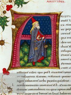 Initial letter A depicting Aristide, miniature from In libris epitomatum illustriorum virorum Plutarchi, by Pietro Candido Decembrio (1392-1477), parchment manuscript, cod CCXXXIX, folio 80, recto. Italy, 15th century.