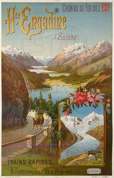 Hugo D Alesi Chemin De Fer De L Est Engadine Suisse Trains Rapides 72,5X119 Hermet by estampemoderne.fr, via Flickr