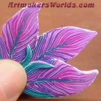 spring pinks polymer clay feather cane    over 100 feather canes on this page.