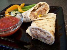 Refried Bean and Brown Rice Burritos  (Vegan, Low Fat)