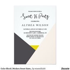Color Block | Modern Sweet Sixteen Invitation