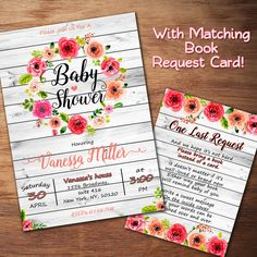 Rustic Baby Shower Invitation, Floral Baby Shower Invitation, Wood Invite, Watercolor Flower, Digital Printable File, Free Book Request Card