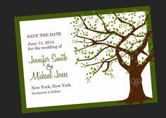 Bridal Shower Invitation Tree with Initials (Printable Digital File). $12.00, via Etsy.