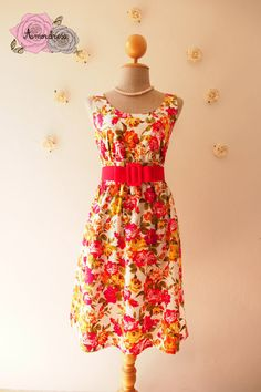 NOW SALE  Floral Dress Red Tangerine Rose Summer by Amordress