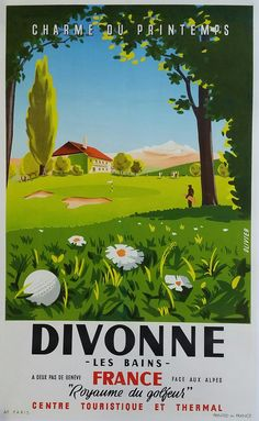 Affiche+ancienne+originale+golf+Divonne+les+bains+-+Olivier