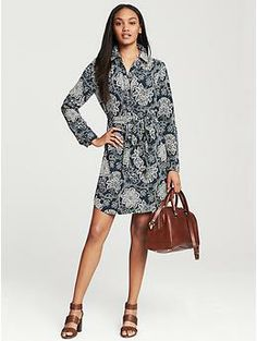 Navy Floral Shirtdress