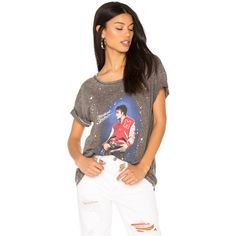 Junk Food Michael Jackson Thriller Tee (370 HRK) ❤ liked on Polyvore featuring tops, t-shirts, graphic tees, burnout top, graphic tops, brown t shirt and splatter t shirt