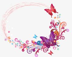 Vector Colorful butterfly border, Frame, Hand-painted Border, Butterfly Border PNG and Vector Butterfly Pictures, Butterfly Frame, Flower Frame, Butterfly Flowers, Butterfly Wallpaper, Wallpaper Iphone Cute, Christening Invitations Girl, Flower Graphic Design, Old Paper Background