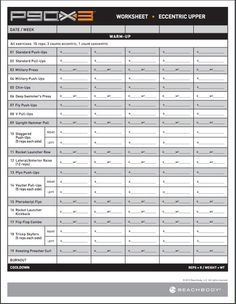 Printables Beachbody P90x3 Worksheets workout ps and sheets on pinterest p90x3 eccentric upper free pdf download