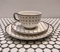Tea Cup and Saucer and Dessert Plate White with Metallic