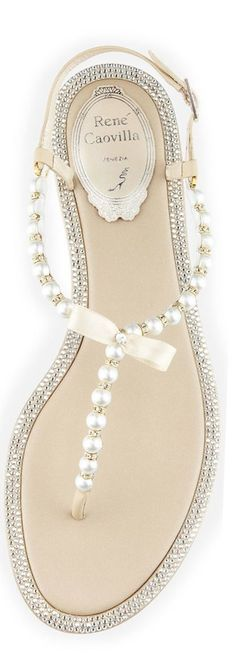 So pretty, I love these simply stunning sandals that would suit beautifully a romantic beach wedding... Sandals by Rene Caovilla