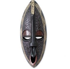 Black Handcrafted West African Wood Mask. Made in Ghana