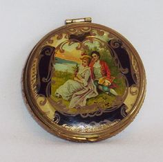 Antique Pastoral Scene Powder Compact or Vanity Case