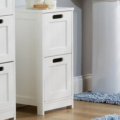 denia bathroom storage cabinet in white with pull out