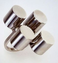 """Ettore Sottsass '""""A Rhodium Treated Silver Ring"""" 25/200 Executed by GEM, Milan 1967"""