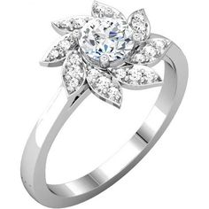 Gorgeous Flower Shaped Diamond Anniversary or Engagement Rings - http://www.mybridalring.com/Rings/round-shape-semi-mount-ring/