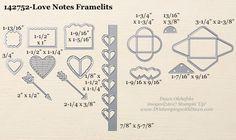 Stampin' Up! Love Notes Framelits Dies sizes shared by Dawn Olchefske #dostamping