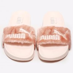 FENTY FUR SLIDES BY RIHANNA in the shell color.                                                      Size: 9.5 Puma Shoes Sandals
