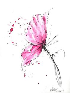 "Original artwork of a pink poppy rendered in pen, ink and watercolor. It is titled ""The Pink Poppy Bursting"" and is signed and dated at the bottom with the title on the back. This watercolor poppy gives us a wonderful side view of an exploding poppy with bursts of pink speckles"