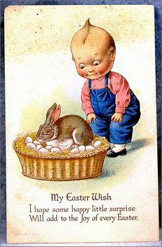 Kewpie Easter Bunny Eggs Postcard