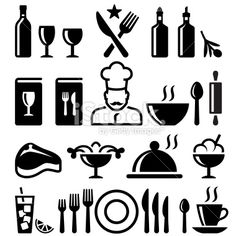 Restaurant and fine dining black & white vector icon set Royalty Free Stock Vector Art Illustration Free Vector Art, Vector Icons, Vector Illustrations, Food Icons, Icon Set, Fine Dining, Restaurant, Black And White, Royalty