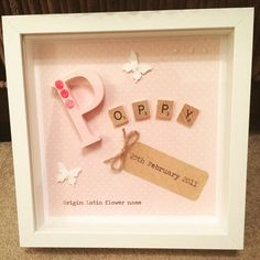 Baby Girl Name Meaning Name Origin White Box Frame with 3D Letter, Scrabble Tiles, Butterflies, Parcel Tag, Pearls, Girl, Daughter, Granddaughter, God Daughter https://www.etsy.com/uk/listing/513312743/new-baby-baby-girl-girl-daughter