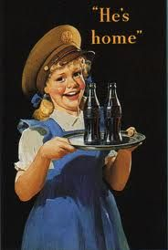1944 - Coca-Cola advertising Wow, just tied that in beautifully didn't they, the little girl, the date, the hat and a COKE! Coca Cola Poster, Coca Cola Ad, World Of Coca Cola, Vintage Coke, Vintage Signs, Coke Ad, Vintage Postcards, Vintage Advertisements, Sodas