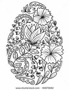 floral easter egg with sharpie pen
