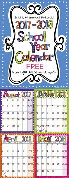 FREE school year calendar from Light Bulbs and Laughter! Click to download. Did I mention that it's free? =)