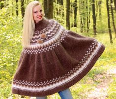 New Hand Knitted Mohair PONCHO SWEATER ICELANDIC Handcrafted Cape by SUPERTANYA