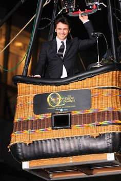 James Franco arrived at the Oz premiere in a hot air balloon