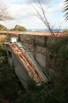 abandoned cliffside hotel, Awaji, Japan