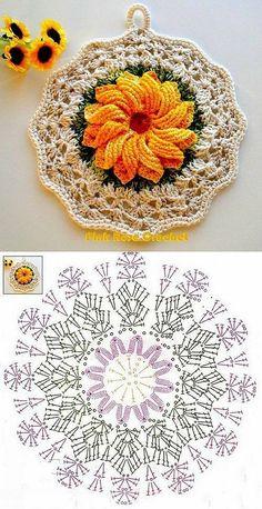 Ideas crochet dishcloth circle stitches for 2019 Crochet Potholder Patterns, Crochet Mandala Pattern, Crochet Circles, Granny Square Crochet Pattern, Crochet Flower Patterns, Crochet Diagram, Crochet Chart, Crochet Squares, Thread Crochet