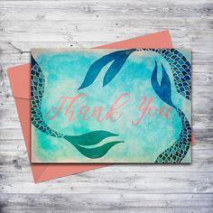 Printable mermaid thank you card in blue and coral!  Just download and print.  #mermaid #thankyou